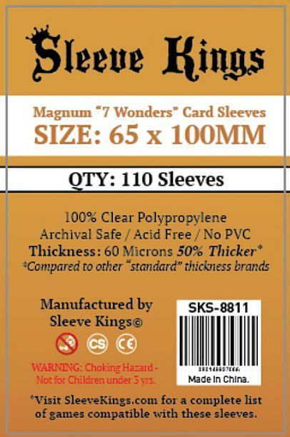 "Sleeve Kings ""7 Wonders / Coup"" Card Sleeves (65x100mm) - 110 Pack,"