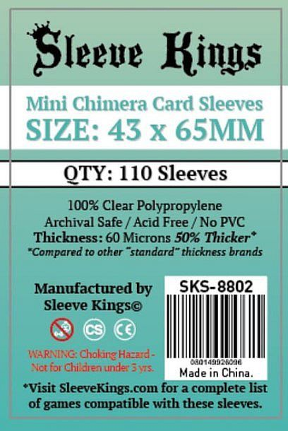 Sleeve Kings Mini Chimera Card Sleeves (43x65mm) - 110 Pack, -SKS-8802