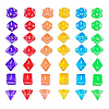 Sparkling Dice Set 7 Pieces - Dadu Translucent Sparkling
